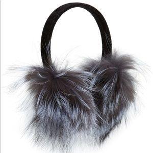 Kyi Kyi gray silver fox earmuffs one size